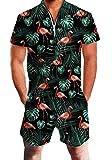 Idgreatim Herren Jumpsuit 3D Grafik Strand Jumpsuit Hawaii Overall Stil Bust Pocket Kurzarm Knie...