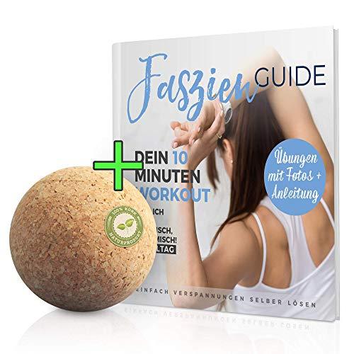 Massageball Natur Set 5 cm mit TRAININGS ANLEITUNG Heft - Korkball, Faszienkugel für Trigger Zonen Faszienball (Triggerpunkt Faszientraining) Plantarfasziitis, Verspannungen Rücken, Schulter)