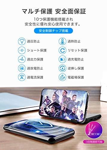 【最新版&スタンド機能付】軽量薄型モバイルバッテリーQi10000mAh大容量LCD残量表示ワイヤレス充電スマホ充電器置くだけ充電2USBポート3台同時充電可持ち運び便利PSE認証済iPhoneX/iPhoneXS/iPhone8/SamsungNote8//S9/S8/S7/SonyXperiaXZ3/XZ2PremiumなどQi対応可能