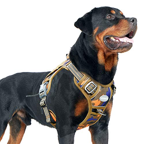 Auroth Tactical Dog Training Harness No Pulling Front Clip Leash Adhesion Reflective K9 Pet Working Vest Easy Control for Small Medium Large Dogs Orange Blue Camo L