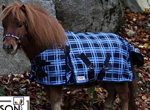 Outdoor Decke Sir PURZL Blau Karo Fleece Futter 65 75 85 95 105 Rückenlänge Tysons Regendecke Minishetty Shetty Falabella Fohlen (100)
