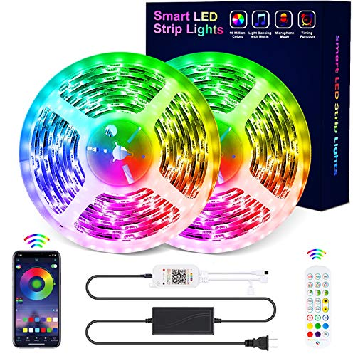 LED Lights for Bedroom, 32.8FT RGB Led Strip Lights Music Sync Led Light Strips, 5050 SMD Waterproof Color Changing Led Rope Lights with Remote, APP Control for Room,TV, Wall, Party, Home Decoration
