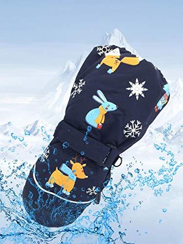 Per-Trading Guantes de esquí para niños Guantes térmicos Impermeables de Tres Capas a Prueba de Viento Snowboard Trineo Ciclismo Esquí de equitación con puños Ajustables De 2 a 6 años