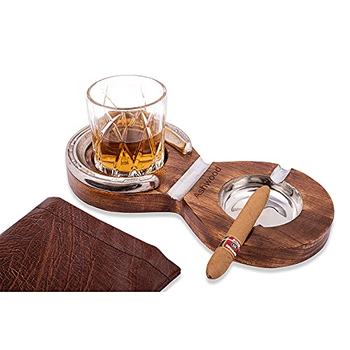 Wooden Cigar Ashtray With Whiskey Glass Holder | Ash Tray With Cigars Holder For Outdoor, Personal Gifts For Men Who Have Everything, Cigar Accessories, Unique Gift Sets, Patio, Casino, Bar Decor