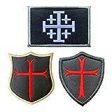 Antrix 3 Pieces Jerusalem Cross Crusader Order Holy Sepulchre Crusader Shield Emblem Patch and Crusader Knight Emblem Badge Patch Hook & Loop Tactical Military Morale Patches