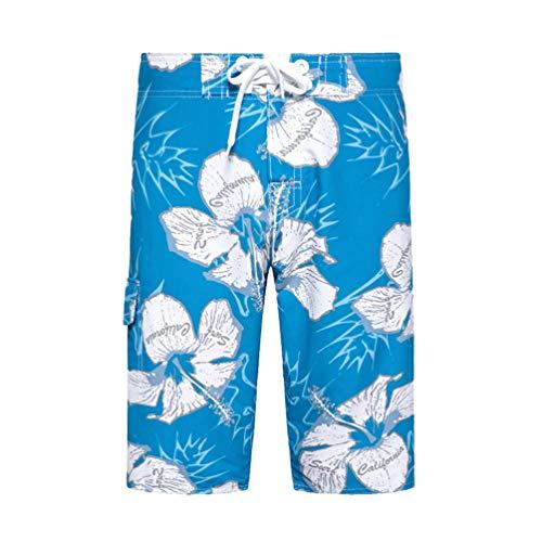 Kaiyei Pantalones Cortos de Playa Hombre Secado Rápido Tamaño Europeo Short de Baño con Cintura Elástica Forro Malla Loose Casual Vacaciones Viajar Surf Azul 34