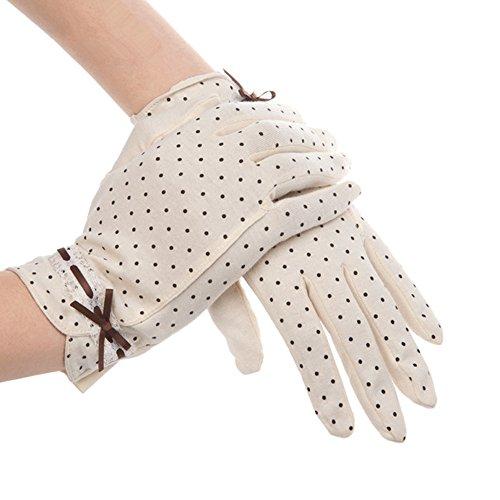 Kenmont Sommer-Frauen-Dots Sun UV-Schutz im Freien 100% Baumwolle Driving-Handschuhe (beige)