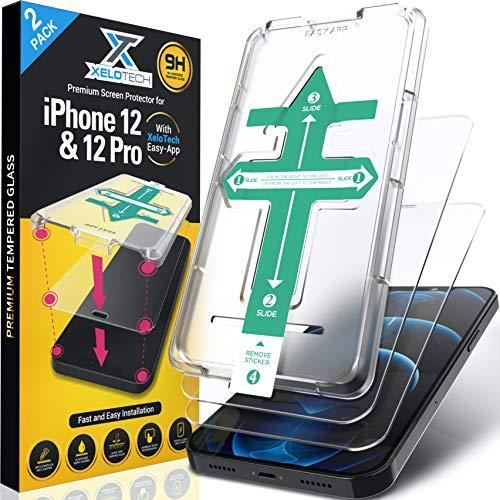 """XeloTech 2X Full Screen Schutzglas für iPhone 12 & 12 PRO (6.1""""), Premium Komplettabdeckung nur mit Glas, Perfekte Installation mit Schablone, Panzerglasfolie, Displayschutzfolie, Panzerfolie"""