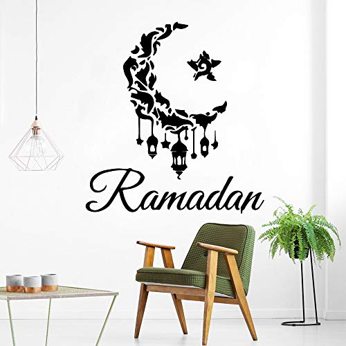 HNXDP Ramadan moon and star Vinilo Adhesivo de pared Decoración para el hogar Stikers Pvc Tatuajes de pared Decoración de la habitación de los niños Papel pintado 57cmx61cm