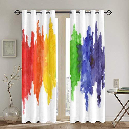 Cortinas Punch,Bandera Colorida Acuarela Colores del Arco Iris Gay Lesbiana LGBT Pintura Amarilla Orgullo Sala de Estar Dormitorio Cortinas de Ventana Juego de 2 Paneles,104 WX 72 L Pulgadas