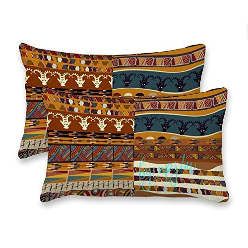 happygoluck1y - Juego de 2 fundas de cojín rectangulares de lona africana (30 x 50 cm, incluye 2 fundas decorativas para decoración del hogar, fundas de almohada para sofá, niños, niñas y mujeres