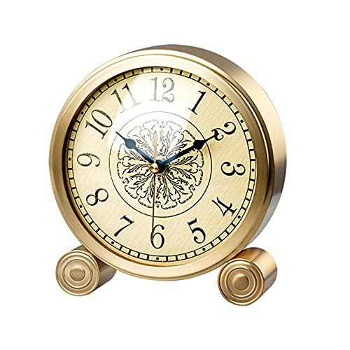 ZCZZ Reloj de Mesa Reloj de Mesa de un Solo Lado, Adornos de Reloj de latón y números arábigos Reloj de Mesa, Reloj de Mesa Creativo con Pilas