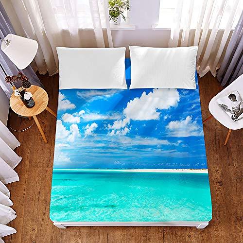 Chickwin 3D Sábana Bajera Ajustable Colchones Decorativa, Oceano Impresión Microfibra Suave Cómoda Transpirable Tela- Elástico en el Borde Bolsillo Profundo 30cm (Mar Cielo Azul,150x200x30cm)