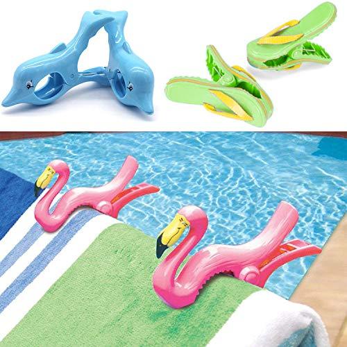 GEEZY Set mit 2 Kunststoff-Klammern für Sonnenliege, Strandtuch, Wind-Clips, Sonnenliege, Pool-Handtuch-Clips (6 Stück – 2 x Delphin, 2 x Flamingo, 2 x Flip-Flop-Clips)