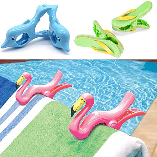 GEEZY Set of 2 Plastic Sun Lounger Beach Towel Novelty Wind Clips Sunbed Pegs Pool Towel Clips (6 Pcs - 2 x Dolphin, 2 x Flamingo, 2 x Flip-Flop Clips)