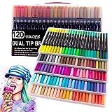 120 colores de doble pincel, rotuladores de punta de fieltro, marcadores de pincel para caligrafía, dibujo, dibujo, libro de colorear (negro)