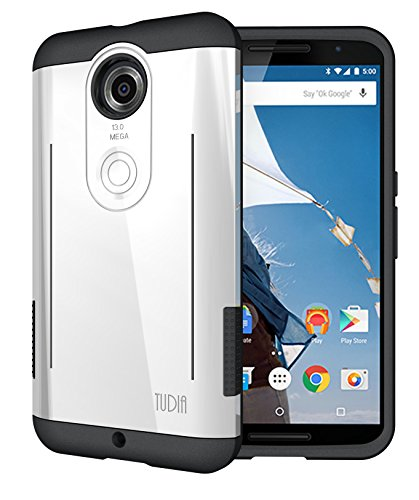 TUDIA RYFT Tough Rugged Dual Layer Protective Case with Kick Stand Features for Google Nexus 6 (Pearl White)