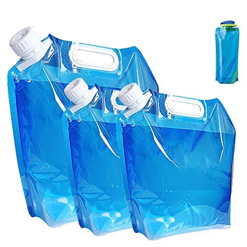 Nsiwem 4pcs Borsa Porta Acqua Pieghevole Serbatoi d'Acqua Portatili Bottiglie di Acqua Pieghevole Tanica Acqua Contenitore di Acqua Potabile Riutilizzabile per Esterni Campeggio Trekking 5L/10L/700ML