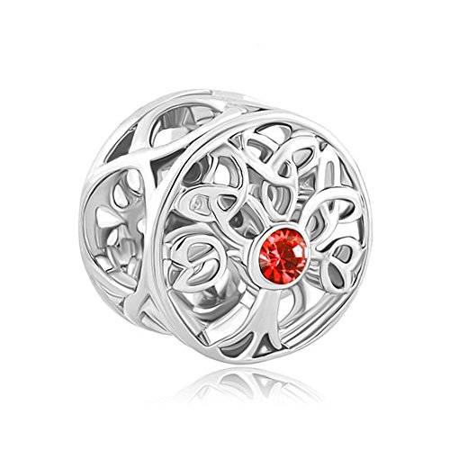 LuckyJewelry Family Tree of Life Jan-Dec Birthstone Celtic Knot Charm Beads for Bracelets (July-Red)