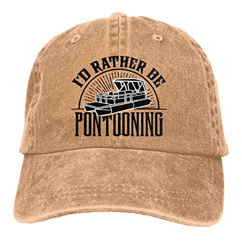 XCNGG I 'd Rather Be Pontooning - Pontoon Boat Unisex Sombreros de Vaquero Sombrero de Mezclilla Deportivo Gorra de béisbol de Moda Negro