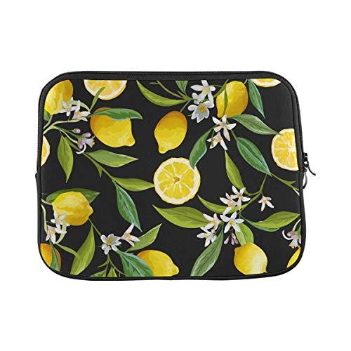 INTERESTPRINT Laptop Water Resistant Sleeve Case Cover Flowers Leaves Lemons Pattern Notebook Neoprene Carrying Bag 11 Inch 11.6 Inch