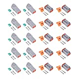 MUYI 10 Kit 4 Pin Way DT Series Connector Gray Receptacle IP67 Waterproof Heavy Duty 14-22 AWG 13 Amps Continuous DT04-4P DT04-4S w/Wedge Lock W4P W4S (10 Kits, 4 Pin)