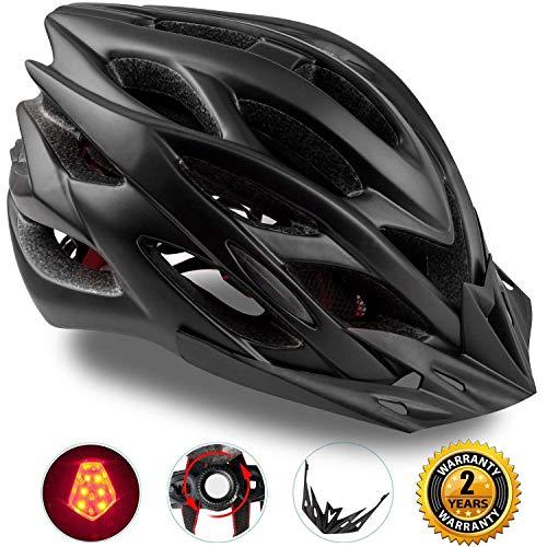 KINGLEAD Fahrradhelm mit wiederaufladbarem LED-Licht, Unisex-geschützter Fahrradhelm für Radrennen Skateboardfahren im Freien Sicherheit Superleichter Verstellbarer mit CE-Zertifikat (Tintenfarbe)
