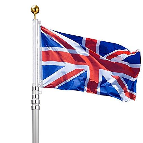 Voilamart Flaggenmast aus Aluminium, 6 m, mit UK-Flagge-Motiv, für den Außenbereich geeignet