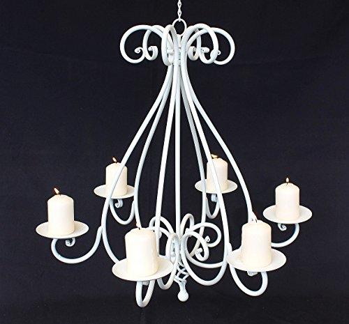 Kronleuchter 95297 Weiß Kerzenhalter H-60cm Kerzenständer Hängeleuchter Metall