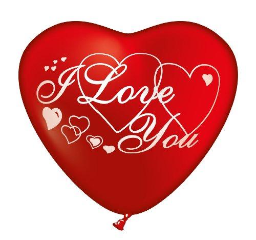 Karaloon GB13245 - 100 hartballonnen I love you, 65 cm, rood