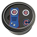 Team Golf MLB Chicago Cubs Gift Set Switchblade Divot Tool with 3 Double-Sided Magnetic Ball Markers, Patented Single Prong Design, Causes Less Damage to Greens, Switchblade Mechanism