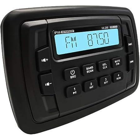 Marine Stereo Audio Radio FM AM Bluetooth Music with USB Input for ATV UTV RZR XP900 Motorcycle Boat Golf Cart Truck SPA Heavyduty Powersports Car MP3 Player Vehicles Headunit Sound System