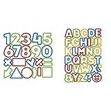 Tescoma 630926 Delicia Kids Tagliabiscotti Numeri, 21 Pezzi, Acciaio, Multicolore + Delicia Kids Tagliabiscotti Alfabeto, 34 Pezzi, Multicolore, 630925