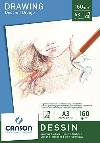 Canson 200005780 - Zeichenpapier A3, 160 g/m², 20 Blatt, weiß