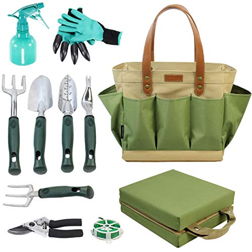 Garden Tool Tote Solid Bag with 11 Piece Hand ToolsBest Gardening Gift Set Organizer with Vegetable Garden Tool KitFree Kneeler PadDigging Claw Gloves and All Necessary Gardening Accessories