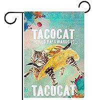 春夏両面フローラルガーデンフラッグウェルカムガーデンフラッグ(12x18in)庭の装飾のため,タコキャット 子猫