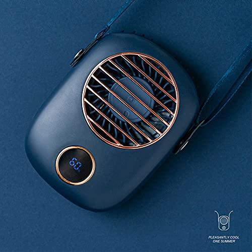 Hwjmy Ventilador de cuello Mini USB ventilador de mano 5 V refrigerador ventilador recargable para viajes al aire libre silencioso pequeños ventiladores de refrigeración pantalla LED (color: azul)