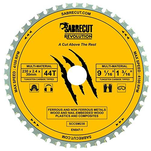 1 x SabreCut SCCSM230_44 230mm 44T x 30mm 25.4mm 20mm Bore Multi-Materiaal Metaal Hout Kunststof Cirkelzaagblad voor Dewalt Makita Milwaukee en vele anderen