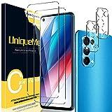 UniqueMe [2+2 Pack] Compatible con OPPO Find X3 Lite (No Adecuado Find X3 / X3 Pro) Protector de Pantalla y Protector de Lente de cámara, Vidrio Templado [9H Dureza] HD Film Cristal Templado
