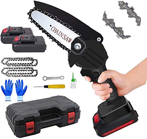 Amorr Mini Chainsaw Cordless Electric Chain Saw for Cutting, 4 Inch One-Hand Portable Chainsaw Battery Operated Lightweight Electric Chainsaw for Cutting Tree Wood
