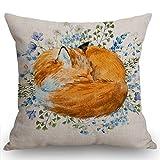 Swono Watercolor Sleeping Fox Throw Pillow Cover Cushion Case for Home Decor Sofa Couch 18' x 18' Inch Cotton Linen Farmhouse Decorations