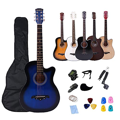 Rosefinch 3 4 Azul Guitarra acústica Kits para principiantes 38 Pulgadas Cutaway Folk Guitarra Bundle Regalo para niños (púas, capo, cuerdas, afinador, correa.)