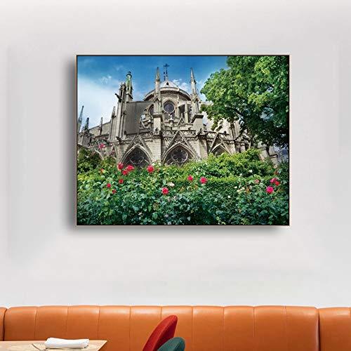 LPaWD Kathedraal van Parijs in Frankrijk Canvas Schilderij Nordic Klassieke Posters en Prints Muur Foto's voor Kamer Woondecoratie Muurschildering A3 60x90cm