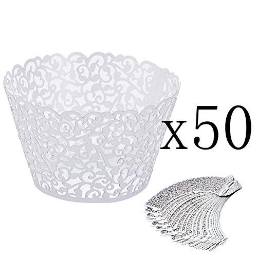 Mogoko 50 STK. Cupcake Wrappers Hohl Cupcakeförmchen Kuchen Pappbecher Verpackungen Kuchenverpackung für Hochzeit Geburtstag feiern Baby Dusche Dekoration (Weiß)