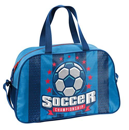 Ragusa-Trade Fussball - Soccer Sporttasche Reisetasche mit tollem Fussmallmotiv (074P) für Jungen und Mädchen, blau/blau, 40 x 25 x 13 cm