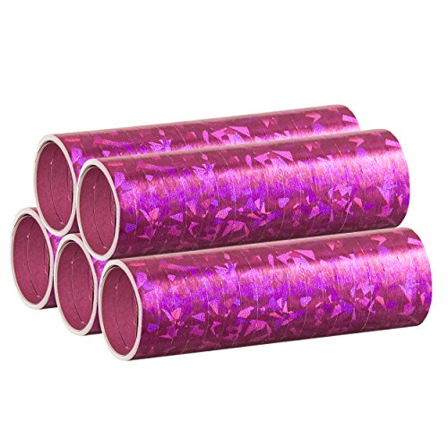 PartyMarty Pinke Metallic Luftschlangen im 5er Sparpack - 5 Rollen mit je 18 holografisch-glitzernden Luftschlangen - für Karneval,...