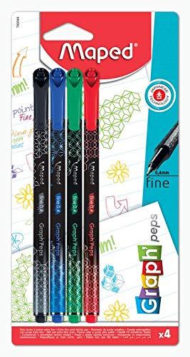Maped Graph'Peps Deco - Rotuladores de punta fina de 0,4 mm - Punta resistente - Comodidad de escritura y dibujo - 4 rotuladores de colores negro, verde, rojo y azul