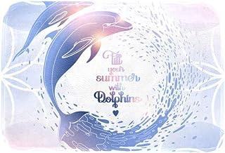 EGGDIOQ Doormats Summer with Dolphins Custom Print Bathroom Mat Waterproof Fabric Kitchen Entrance Rug, 23.6 x 15.7in