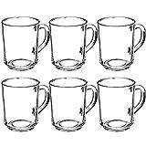 KADAX Juego de 6 vasos de té y agua, con asa, vasos de cristal, para zumo, té, café, té helado, zumo (250 ml)