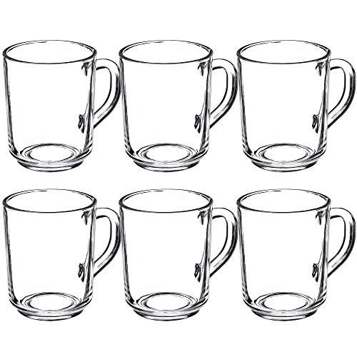 KADAX Teegläser, Wassergläser mit Henkel, 6er Set, Glastassen, Saftgläser, Gläserset, Gläser für Tee, Kaffee, Wasser, Drink, Eistee, Saft, Trinkgläser, Kaffegläser (Nele, 250 ml)